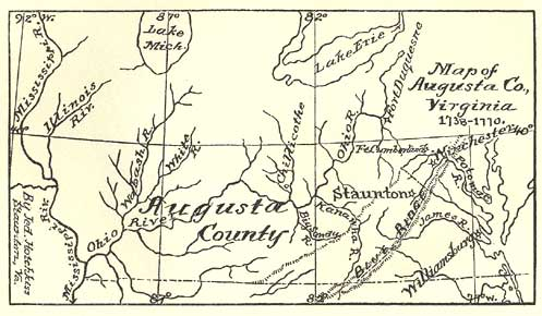 Map of Augusta County, Virginia, 1738-1770