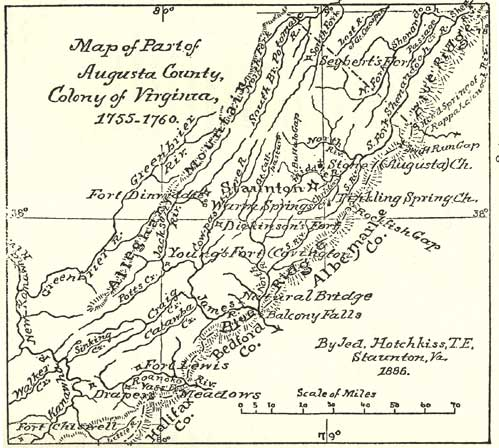Map of Part of Augusta County, Colony of  Virginia, 1755-1760, by Jed. Hotchkiss, T.E.