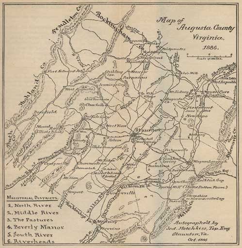 Map of Augusta County, Virginia, 1886, by Jed. Hotchkiss