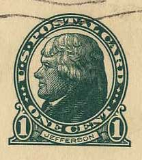Jefferson 1-cent stamp on postcard from Noel to Hill on August 18