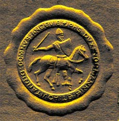 digital enhancement of embossed image on stationery used in letters from Browning to Hill on July 16, 1924, and to Bullock on July 7, 1924