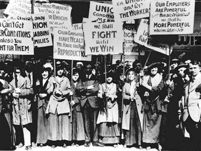 old photo of an International Women's Day march