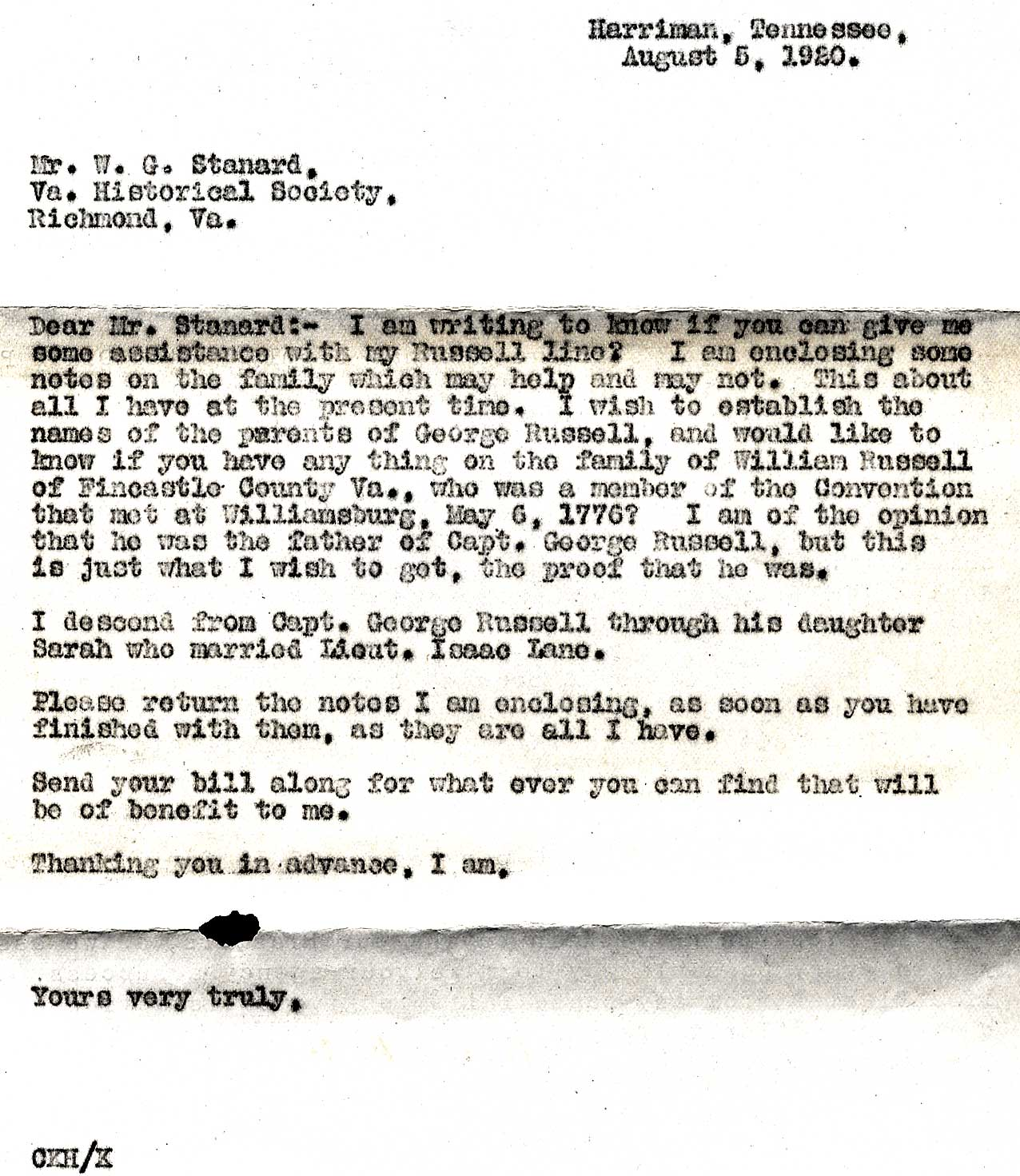 letter to me c k hill letter to w g stanard of august 5 1920 23220